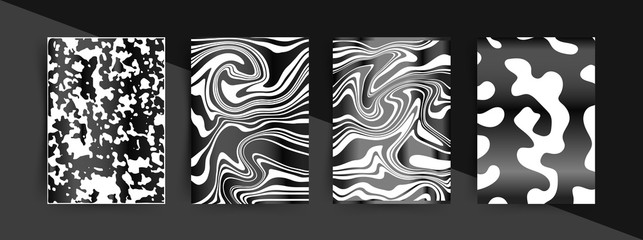 Elegant Black Background. Abstract shapes with gradients. Liquid Trendy design. Eps10 vector.