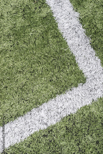 Tuinposter Gras Green Turf and White Line
