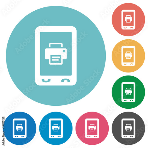 Fototapety, obrazy: Mobile printing flat round icons