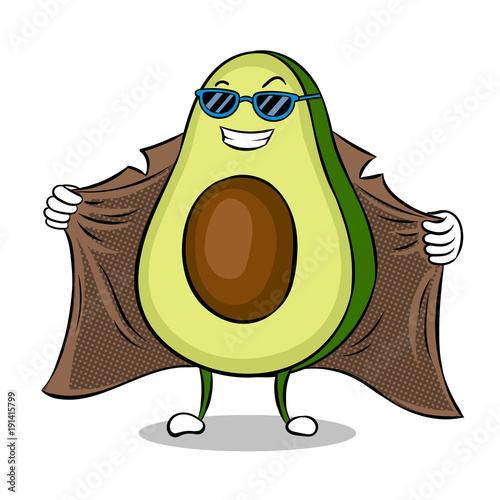 Obraz na plátně Avocado exhibitionist in raincoat pop art vector