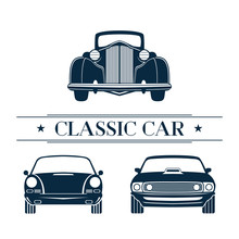Set Classic Car Front View