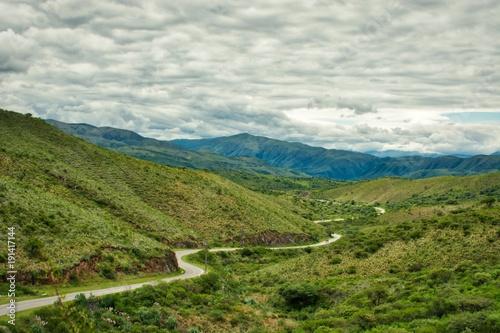 Foto op Canvas Pistache winding road in the valley