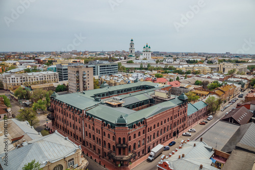 Aerial Astrakhan day cityscape from rooftop Wallpaper Mural