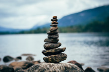 Peaceful Cairn At The Lake