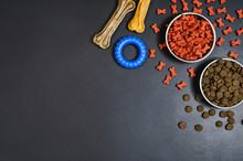 Dry Dog Pet Food In Bowl And A...