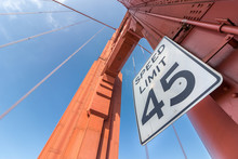 45 Miles Speed Limit Sign At The Golden Gate Bridge.