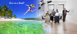 Phantasmagoria. Office workers are surprised to see a tropical mirage. Leap of a beautiful girl from the office to the Caribbean coast.