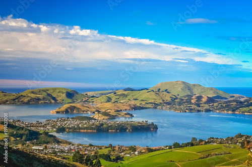 Photo  Dunedin town and bay as seen from the hills above