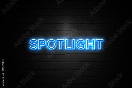 Cadres-photo bureau Lumiere, Ombre Spotlight neon Sign on brickwall