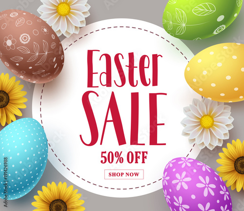 Easter sale vector banner template design with colorful eggs spring easter sale vector banner template design with colorful eggs spring flowers and sale text in mightylinksfo