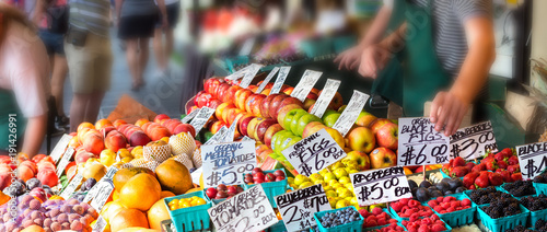 Fototapeta Fruits with tags prices.