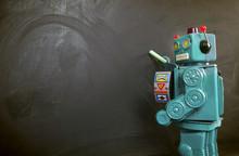 Green Robot Teacher Ot The Bla...