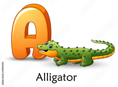 Fototapeta premium Letter A is for Alligator cartoon alphabet