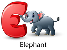 Letter E Is For Elephant Carto...