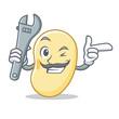 Mechanic soy bean mascot cartoon