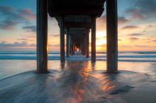Scripps Pier Sunset In La Jolla - San Diego, California