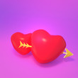 canvas print picture - 3d rendering picture of red hearts with golden arrow.