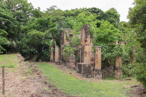 Deurstickers Rudnes Abandoned Prison in Salvation's Islands, French Guiana.