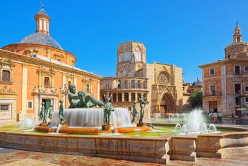 Valencia Fountain Rio Turia on Square of the Virgin Saint Mary,