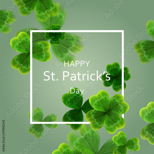 Foto card on St. Patrick's Day. 3d effect clover vector
