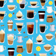Vector cups filled with coffee pattern or background