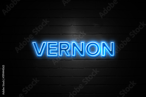Fotografia, Obraz  Vernon neon Sign on brickwall