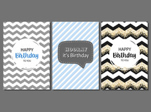 Set Of Vector Cards For Man Birthday. Greeting, Invitation, Happy Birthday Cards. Geometric Stripes And Cute Pattern. Cards For Boys.
