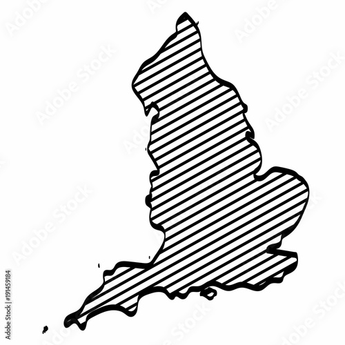 Map Of England Drawing.England Map Outline Graphic Freehand Drawing On White Background