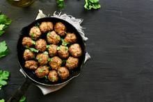 Meatballs In Frying Pan, Top View