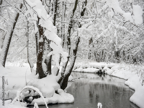 Winter forest river under snow with trees