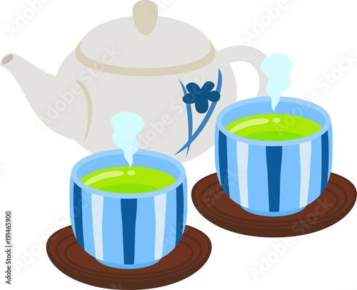 Fotografia 急須と湯呑みに入った緑茶