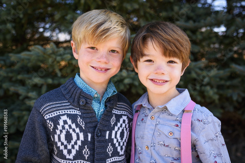 Portrait of two smiling boys