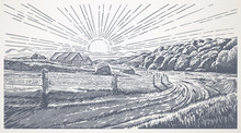 Rural Landscape With Village In Engraving Style. Hand Drawn And Converted To Vector Illustration