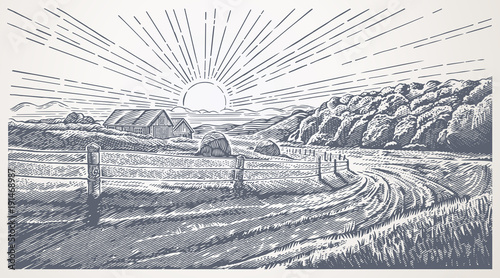 Fond de hotte en verre imprimé Taupe Rural landscape with village in engraving style. Hand drawn and converted to vector Illustration