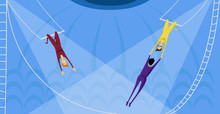 Aerial Acrobats In The Circus