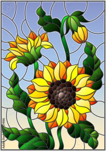 ilustracja-w-stylu-witrazu-z-bukietem-slonecznikow-kwiatow-pakow-i