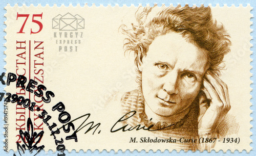 KYRGYZSTAN - 2017: shows Marie Sklodowska Curie (1867-1934), physicist and chemist, series Eminent personalities