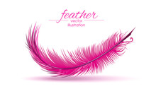 Light Pink Feather Isolated On White Background. Vector Illustration