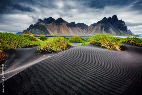 Obraz Great wind rippled beach black sand. Location Vestrahorn, Iceland, Europe. - fototapety do salonu
