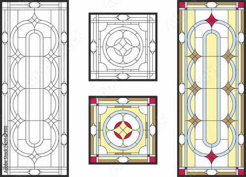 Obraz na plátně Abstract geometric floral pattern in a rectangular and square frame / Colorful stained glass window in classic style for ceiling or door panels, Tiffany technique