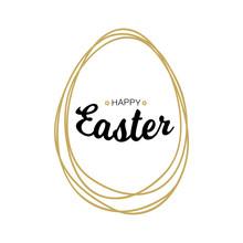 Happy Easter Black Typographic...