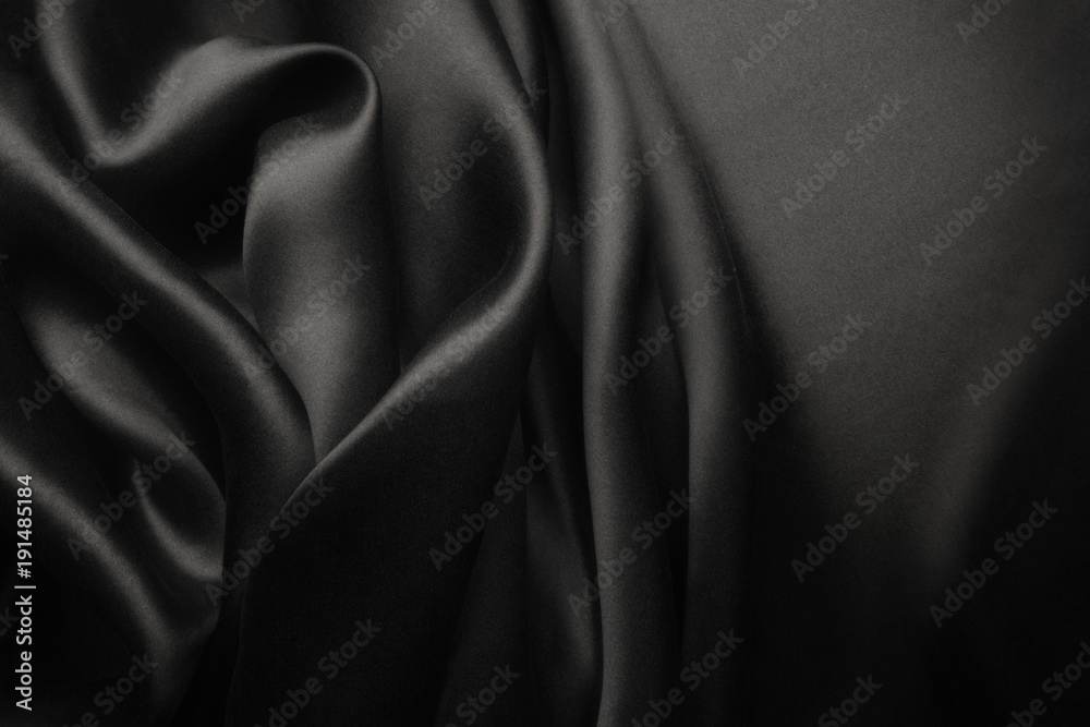 Fototapety, obrazy: Elegant black satin silk with waves, abstract background
