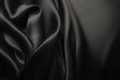 canvas print picture - Elegant black satin silk with waves, abstract background