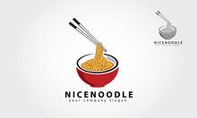 Nice Noodle Vector Logo Template.  Noodle Restaurant And Food Logo Template. Vector Logo Illustration.