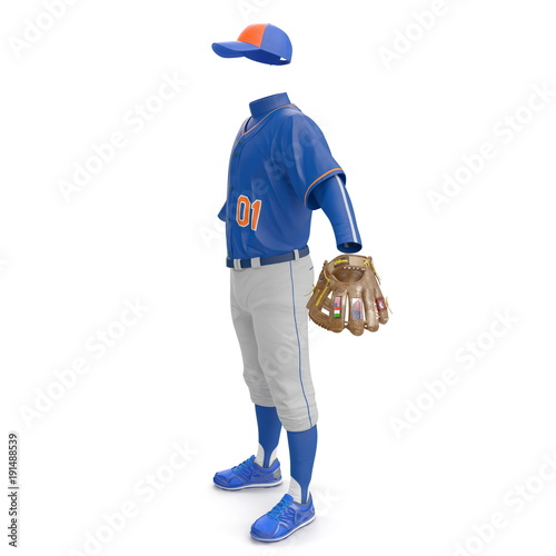 Photo  Baseball Clothes on white. Side view. 3D illustration