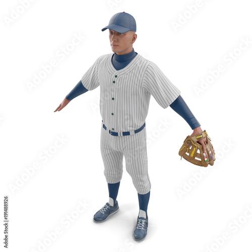 Full length portrait of a male baseball player on white Poster
