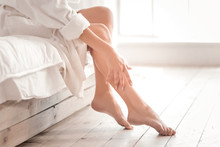 So Beautiful. Close Up Of Beautiful Female Legs While Being Taking Care Of After Shower