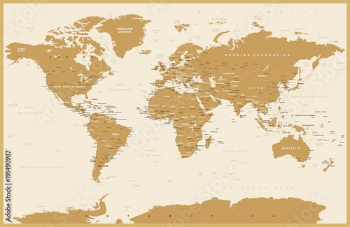 Foto op Aluminium Political Vintage World Map Vector