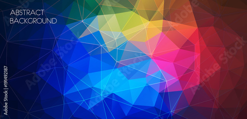 Horizontal multicolor polygonal banner. Vector Background
