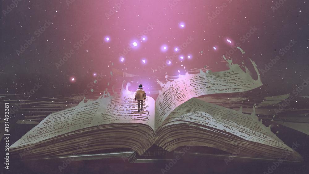 Fototapeta Boy standing on the opened giant book with fantasy light, digital art style, illustration painting